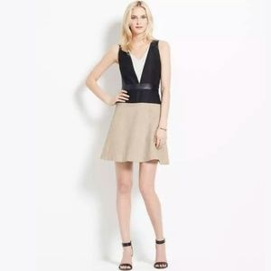 NWT Ann Taylor faux leather color block dress B9